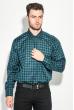 Рубашка мужская двухцветная клетка 50PD0055 сине-зеленый ,  клетка
