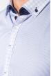 Рубашка мужская воротник и планка в клетку 50PD3144 бело-сиреневый