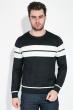 Джемпер мужской с полосами 138V002 черно-серый