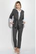 Костюм женский (пиджак и брюки) батал, деловой, однотонный 74PD357 серый меланж
