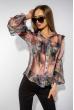 Блуза шифоновая с рукавом буф 118P354 фиолетово-серый