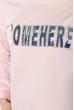 Свитшот женский,с текстовой нашивкой 32P066 бледно-розовый
