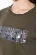 Свитшот женский,с текстовой нашивкой 32P066 хаки