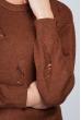 Свитер с порезами 716K001 шоколадный