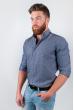 Рубашка однотонная, хлопок, длинный рукав №208F002 серый