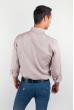 Рубашка однотонная, хлопок, длинный рукав №208F002 кофейный
