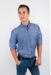 Рубашка однотонная, хлопок, длинный рукав №208F002 джинс