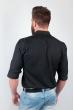 Рубашка однотонная, хлопок, длинный рукав №208F002 черный