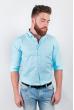 Рубашка однотонная, хлопок, длинный рукав №208F002 голубой
