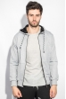 Кофта мужская с капюшоном 423F001-1 светло-серый