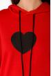 Женский худи с принтом Сердце 151P168 красно-черный