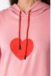 Женский худи с принтом Сердце 151P168 пудрово-красный