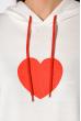 Женский худи с принтом Сердце 151P168 бело-красный