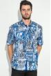 Рубашка мужская крупный газетный принт 50P2341 синий