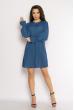 Однотонное платье с длинными рукавами 632F004-3 синий