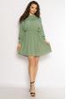 Однотонное платье с длинными рукавами 632F004-3 оливковый