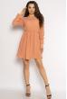 Однотонное платье с длинными рукавами 632F004-3 пудровый