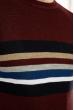 Свитер в полоску на груди 619F1865 бордовый