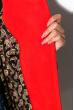 Пальто женское с контрастной строчкой 130P003 серо-красный