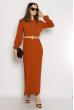 Платье с плиссированной юбкой 640F002-2 терракотовый