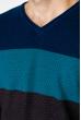 Пуловер трехцветный 520F006 сине-темно-синий
