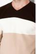 Пуловер трехцветный 520F006 коричнево-бежевый