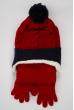 Комплект детский (для мальчика) шапка, шарф и перчатки 120PTEM53119 junior красно-синий