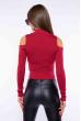 Гольф женский с открытыми плечами 605F003 бордовый