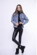 Джинсовая куртка с вышивкой на спине 172P9810 голубая варенка