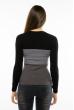 Пуловер женский с V-образным вырезом 618F074 черно-серый