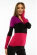 Пуловер женский с V-образным вырезом 618F074 фиолетово-черный