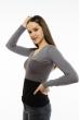 Пуловер женский с V-образным вырезом 618F074 серо-грифельный