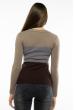 Пуловер женский с V-образным вырезом 618F074 капучино-серый