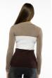 Пуловер женский с V-образным вырезом 618F074 капучино-молочный