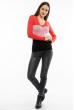 Пуловер женский с V-образным вырезом 618F074 кораллово-розовый