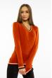 Пуловер женский с V-образным вырезом 618F402 кирпичный