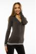 Пуловер женский с V-образным вырезом 618F402 грифельный