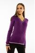 Пуловер женский с V-образным вырезом 618F402 фиолетовый