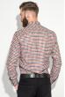 Рубашка мужская теплая, воротник на пуговицах 50PD0041 красно-молочный