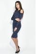 Платье женское, с открытыми плечами  69PD983 синий меланж