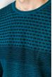 Джемпер тонкой вязки 520F022 бирюзово-черный