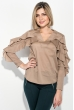 Блузка женская с оборками на рукавах 64PD317 бежевый