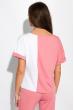 Костюм женский двухцветный с надписью 151P03 розово-белый