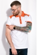 Поло с контрастными вставками 120PELL412-1 бело-оранжевый