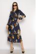 Платье колокольчик с поясом 633F002 темно-синий