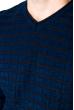 Свитер с комбинированной вязкой 520F021 индиго-черный