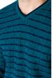 Свитер с комбинированной вязкой 520F021 бирюзовый / темно-синий