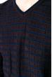 Свитер с комбинированной вязкой 520F021 темно-синий / синий