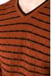 Свитер с комбинированной вязкой 520F021 кирпично-черный