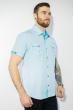 Рубашка с коротким рукавом 199P0118 бело-бирюзовый